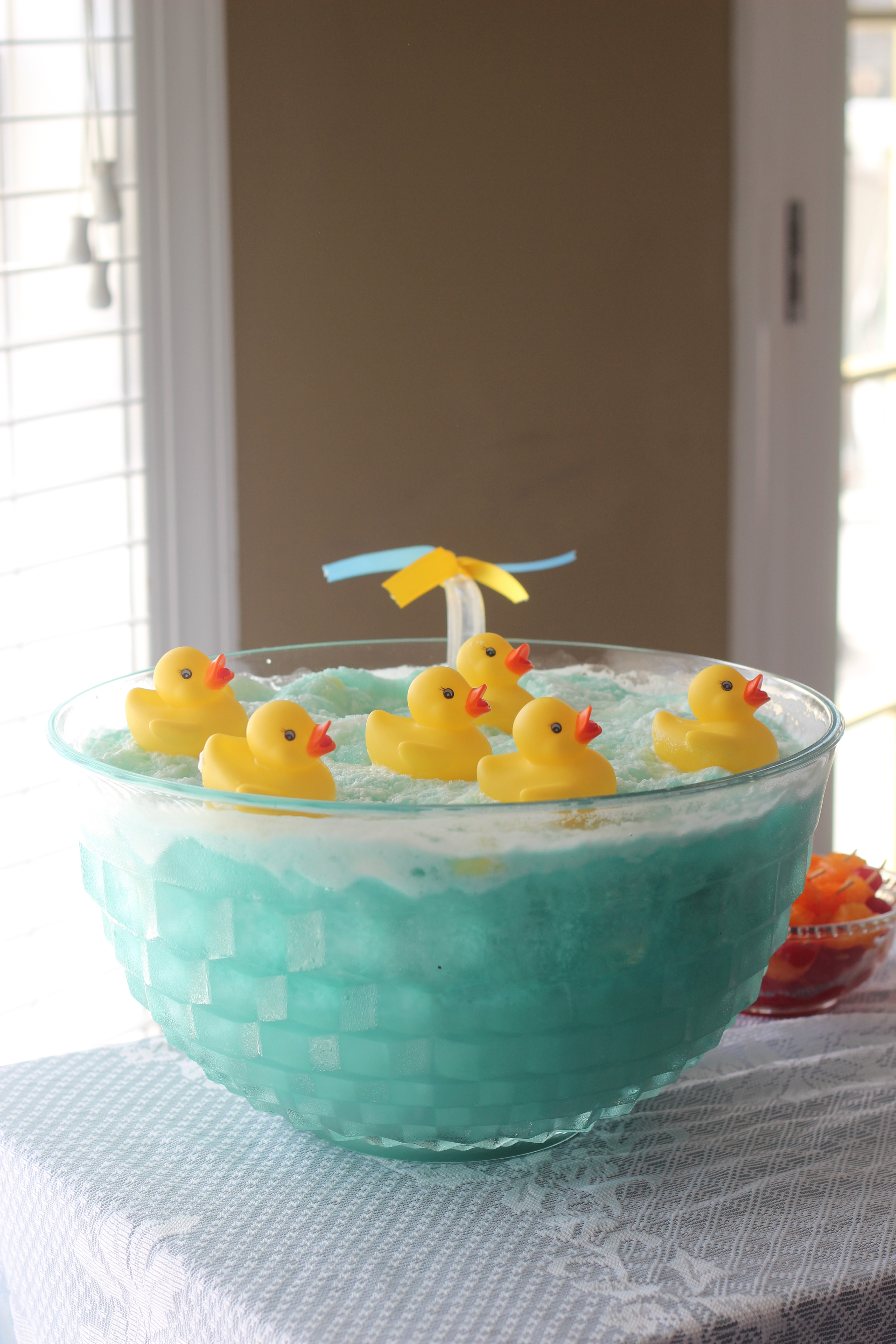 we used floating rubber ducks for the punch bowl and added