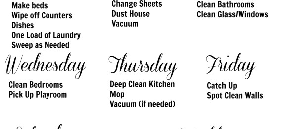 weeklycleaning schedule