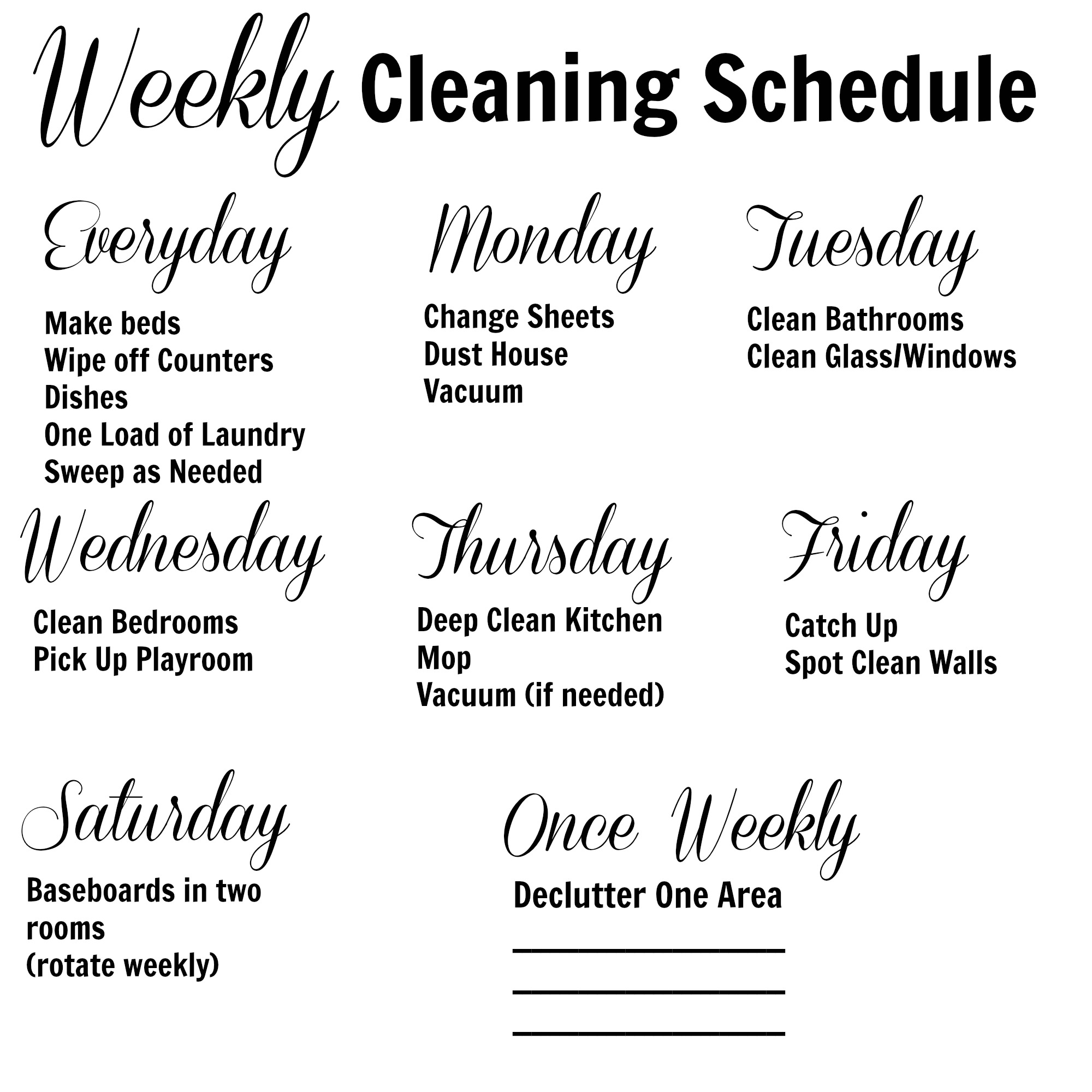 Weekly Cleaning Schedule - Life in the Green House